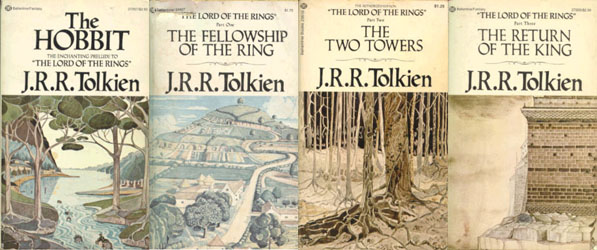 1973 Ballantine Books LORD OF THE RINGS HOBBIT 4 Book Box Set Slipcase Tolkien